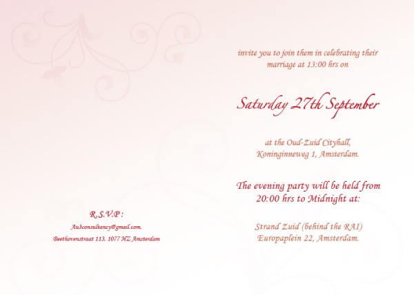 Wedding stationery - invitation inside