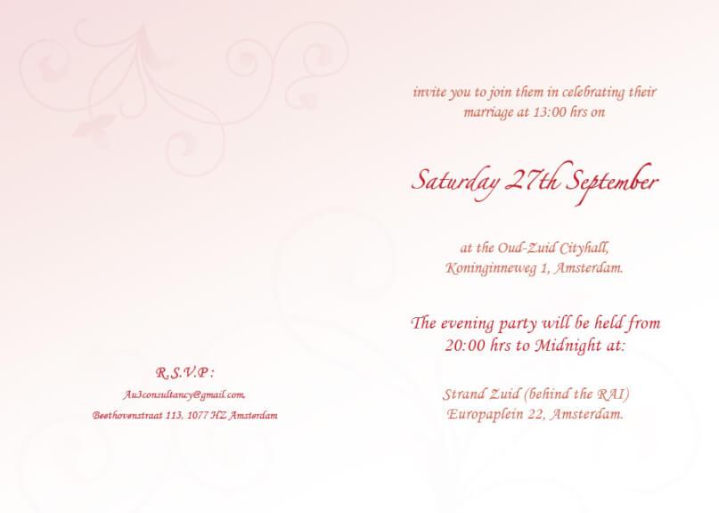 Wedding stationery - invitation inside