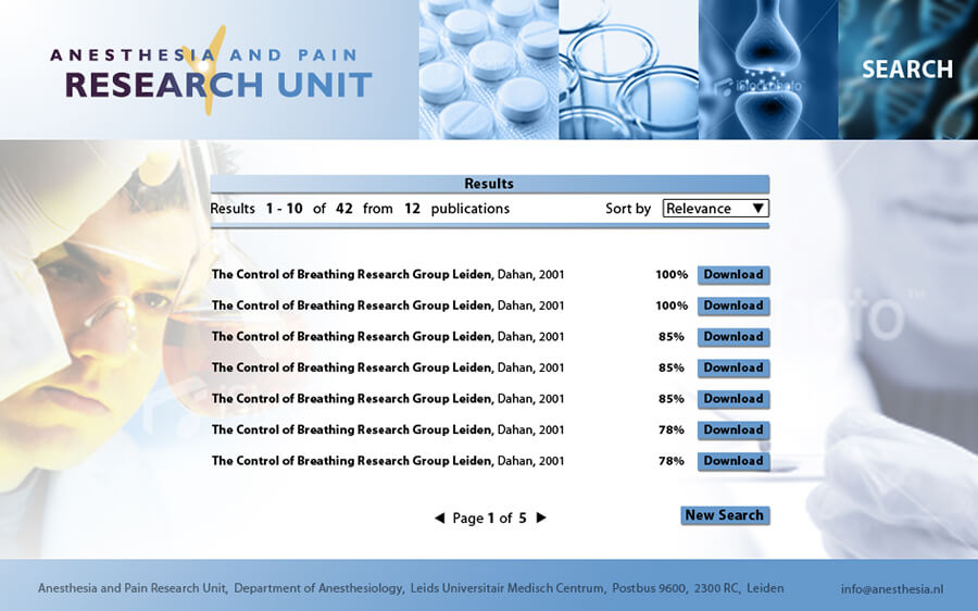 anesthesia - results page