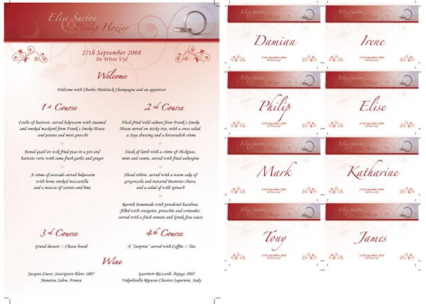Wedding stationery - menu & place names
