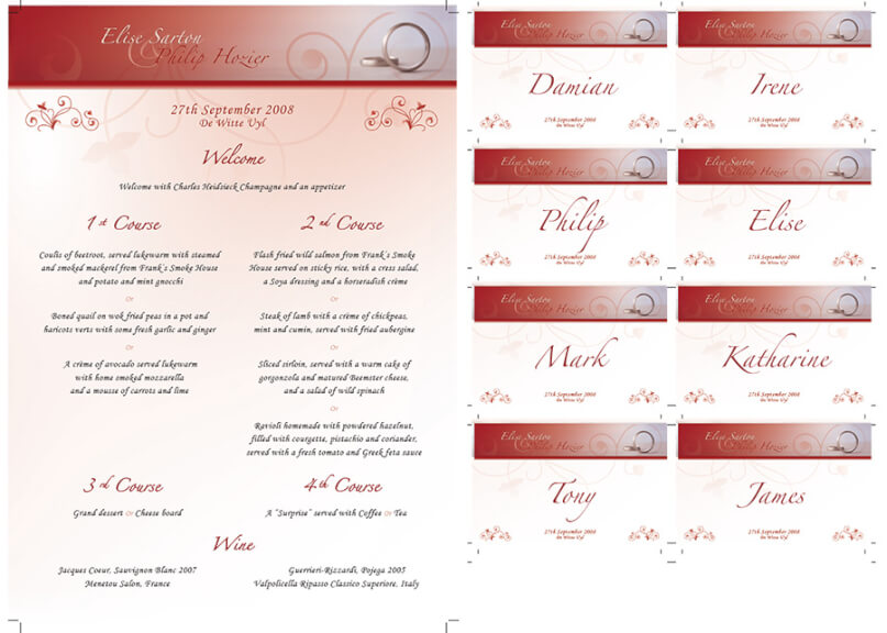 Wedding stationery - menu & place names
